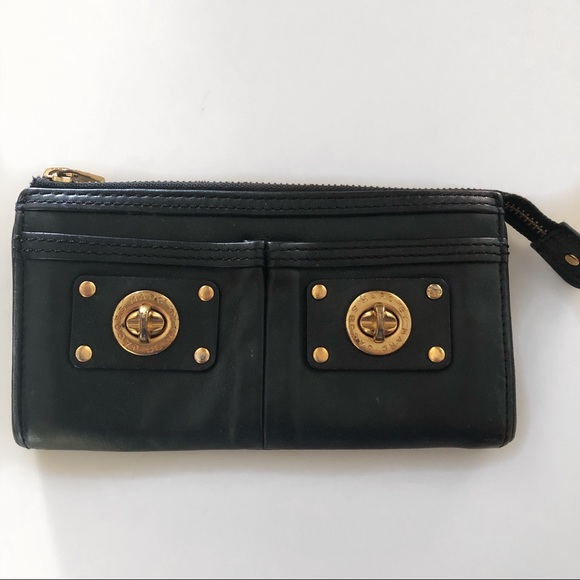 Marc By Marc Jacobs Handbags - Marc by Marc Jacobs Black Gold Wallet Clutch
